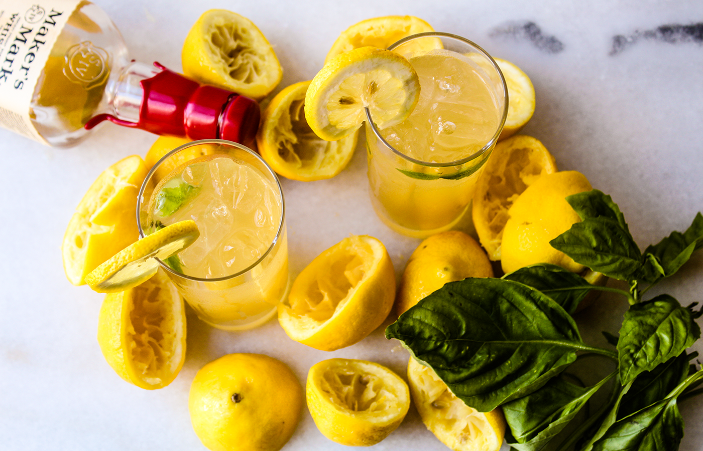 Spiked Honey Basil Lemonade